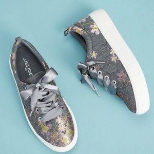 Anthropologie J/Slides Floral Brocade Sneakers